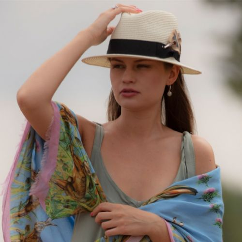 Panama Style Summer Hat with Removable Feather Brooch - Dovecote